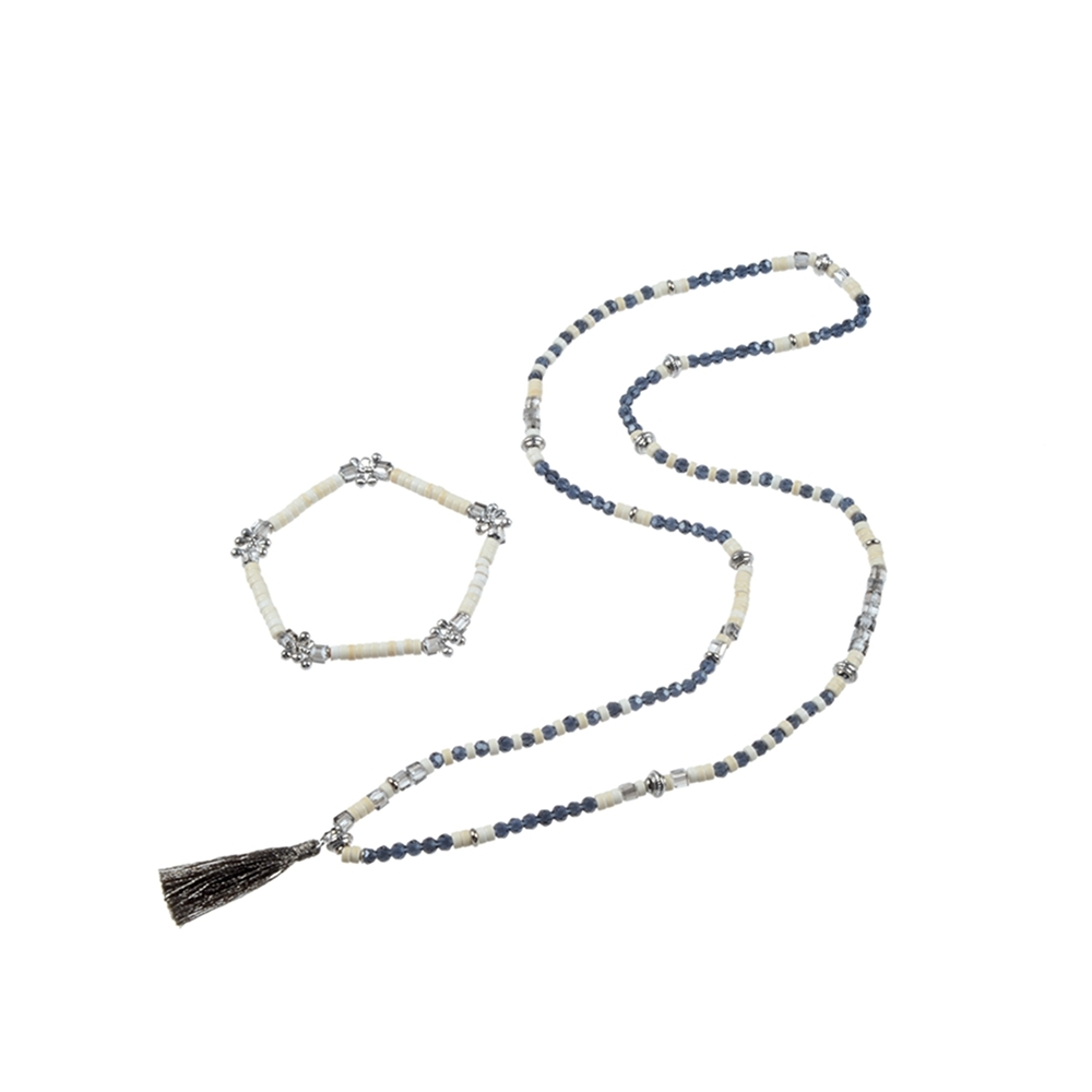 Natural Stone Bead Necklace & Bracelet Set