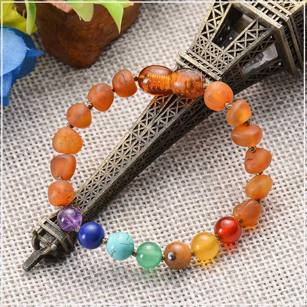 Wholesale Handmade Amber Teething Chakra Beaded Bracelet For Kid