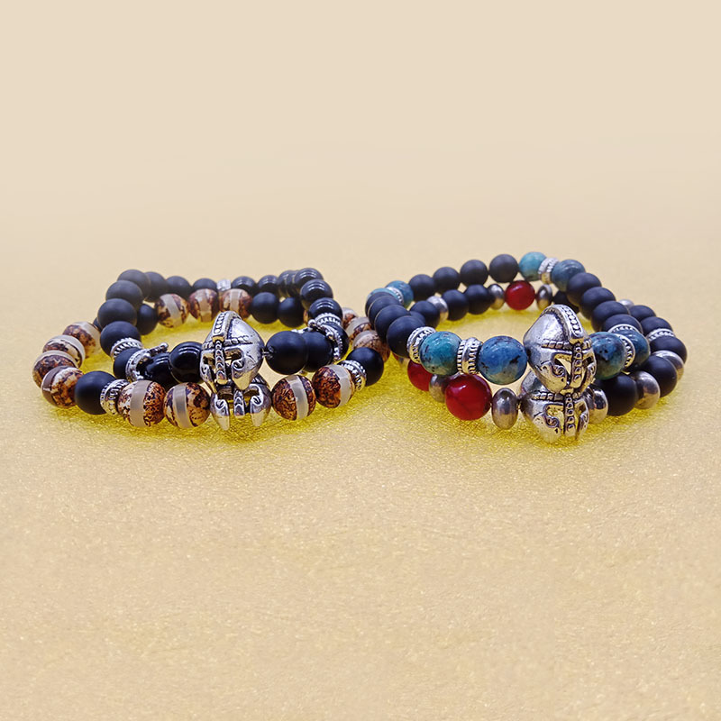 Roman Knight Spartan Warrior Helmet Stone Beaded Stretch Bracelet