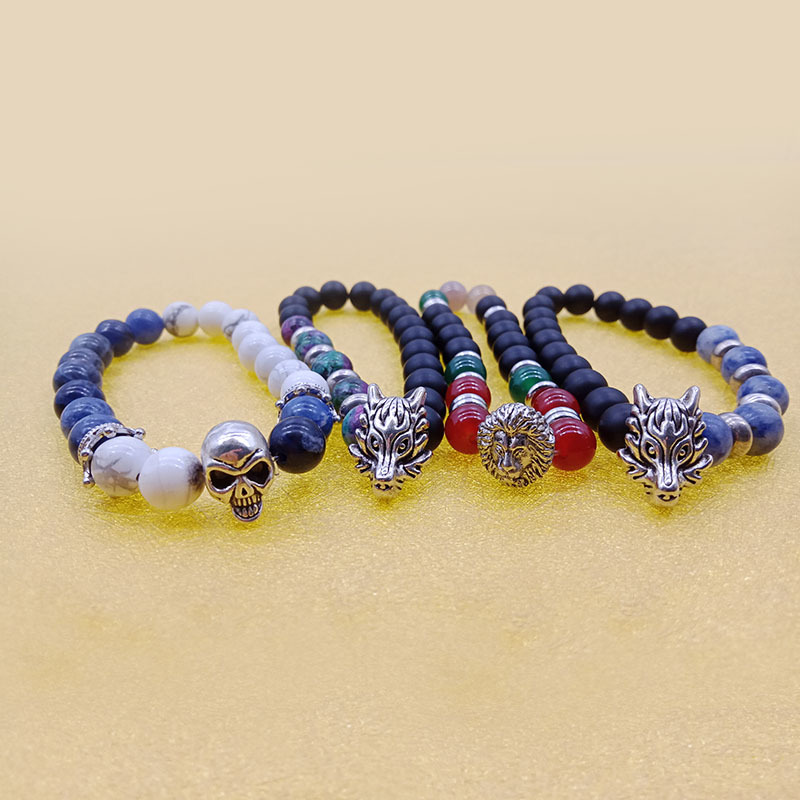Wholesale Handmade Stone Bead Alloy Charms Stretch Bracelet