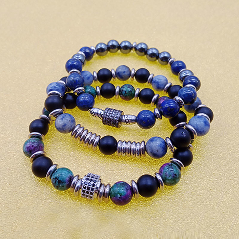 Wholesale Handmade Stone Beads Alloy Charms Stretch Bracelet
