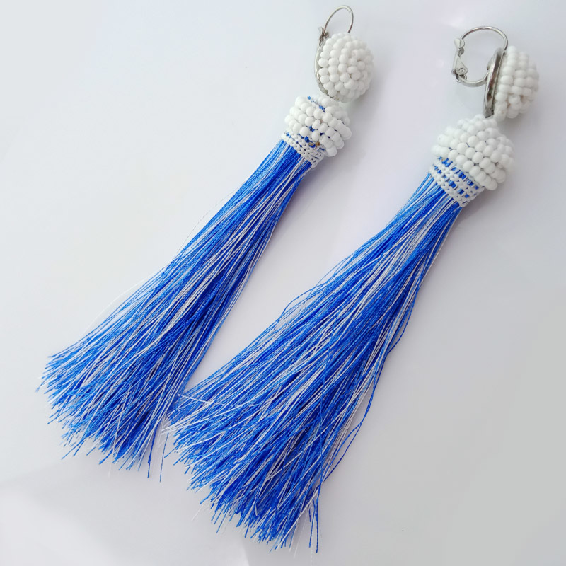 Wholesale Handmade Seed Bead Silk Thread Tassel Earrings For Women