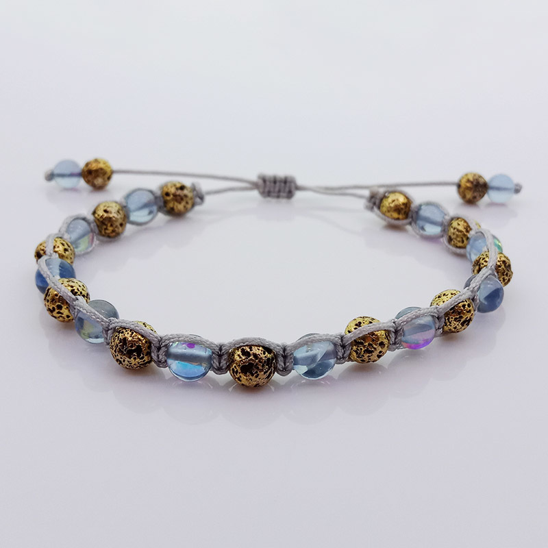 Wholesale Handmade Metallic Lava And Moonstone Bead Woven Bracelet