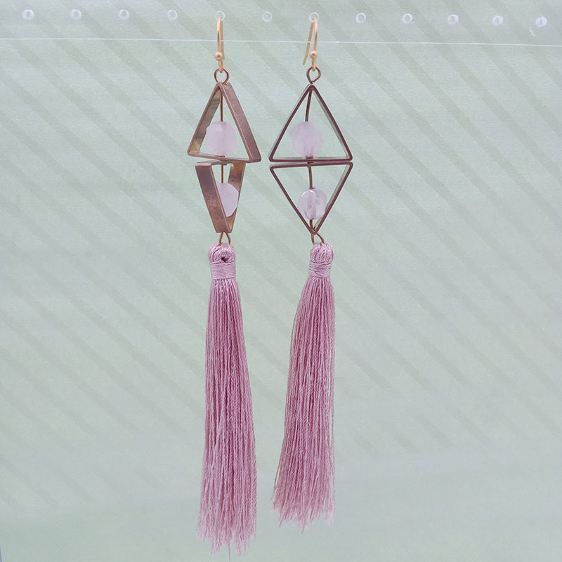 Wholesale Handmade Copper Rose Quartz Pink Tassel Earrings