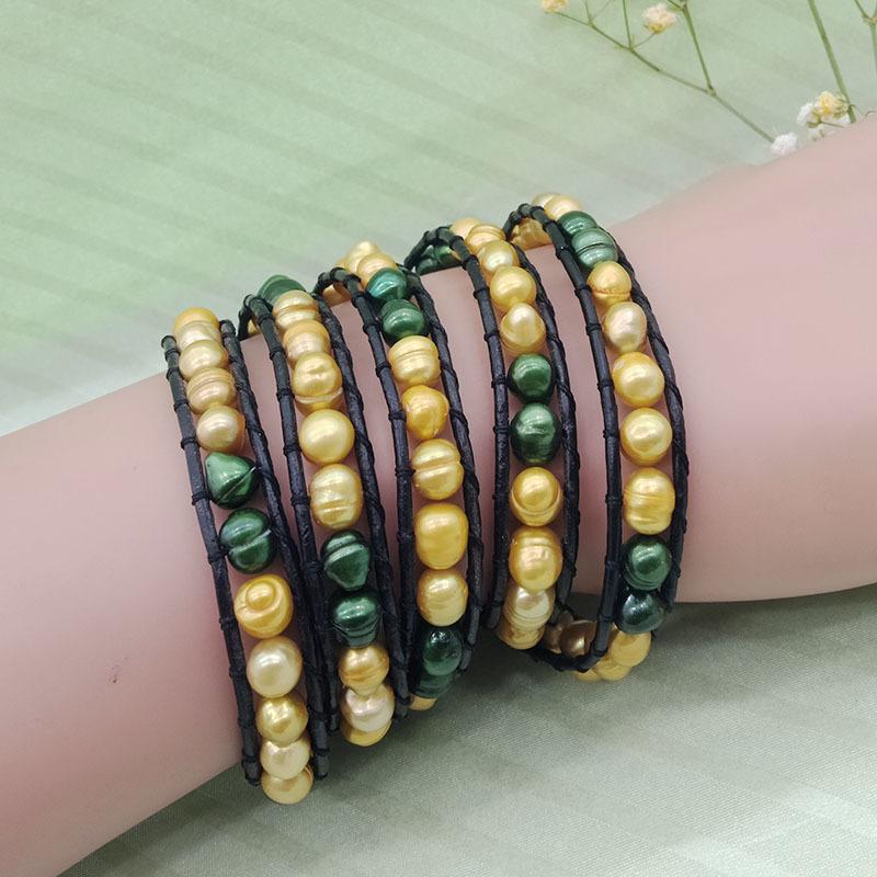 Fresh Water Pearl Beads Leather Woven Wrap Bracelet
