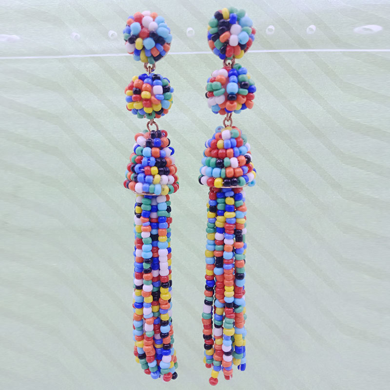 Wholesale Handmade Seed Bead Tassel Earrings