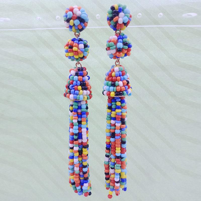 Wholesale Handmade Seed Bead Tassel Earrings
