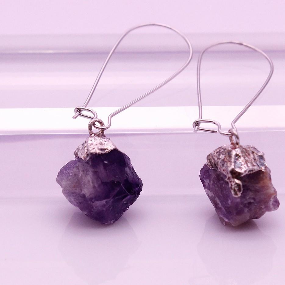 Raw Amethyst Dangle Earrings February Birthstone Jewelry