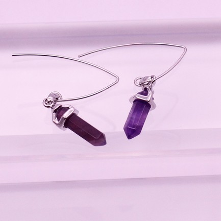 Amethyst Point Pendant Dangle Earrings February Birthstone Jewelry