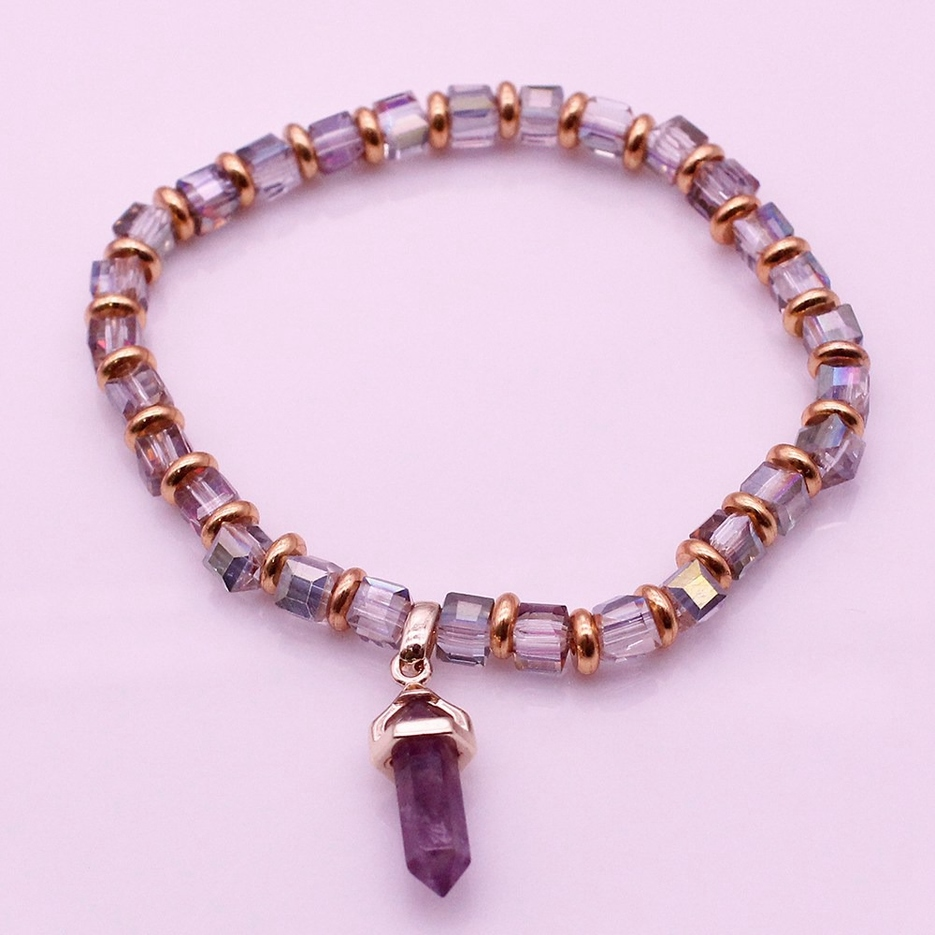 Amethyst Point Charms Crystal Bead Bracelet February Birthstone Jewelry