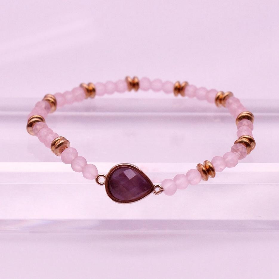 Amethyst Crystal Beads Dainty Bracelet February Birthstone Jewelry