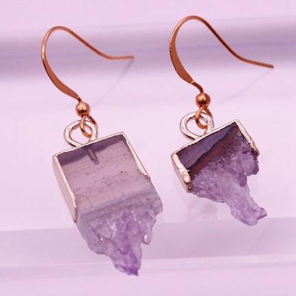 Raw Amethyst Drop Earrings February Birthstone Jewelry