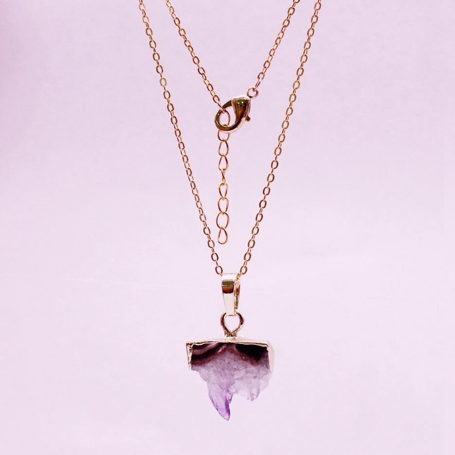 Raw Amethyst Slice Pendant Necklace February Birthstone Jewelry
