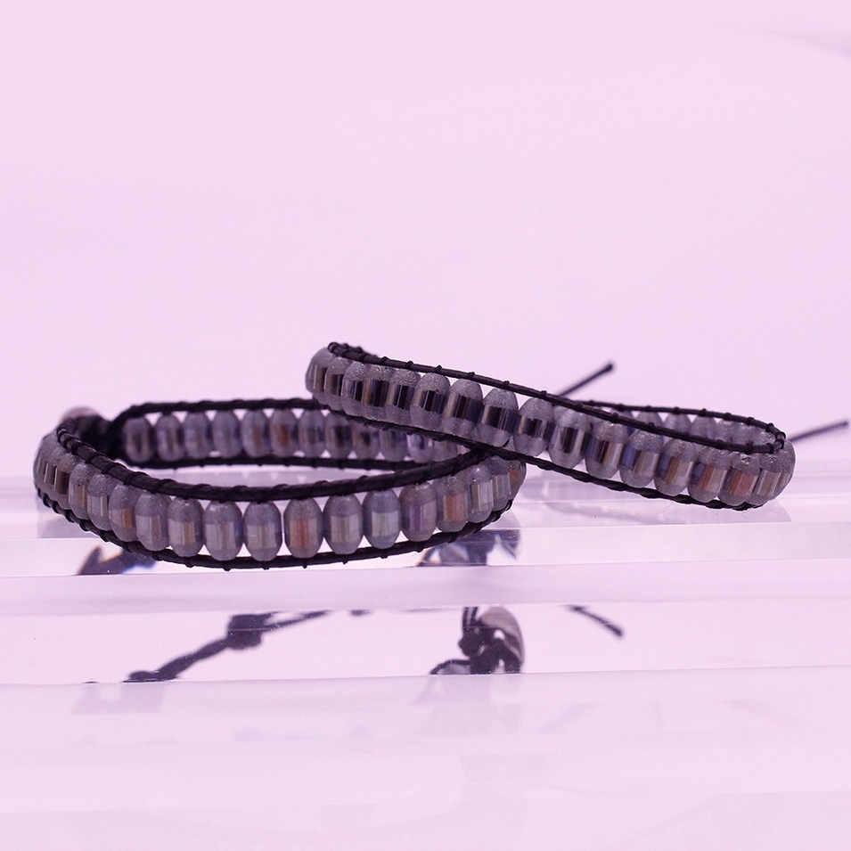 Valentine Jewelry His & Her Couple Leather Wrap Crystal Bracelet