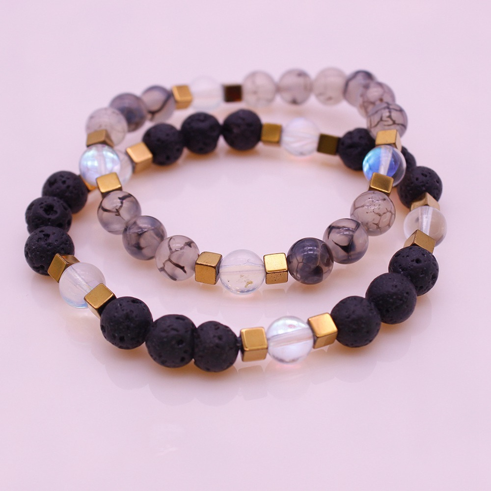 Mix Natural Stone Beads His & Her Couple Bracelet Valentine Jewelry