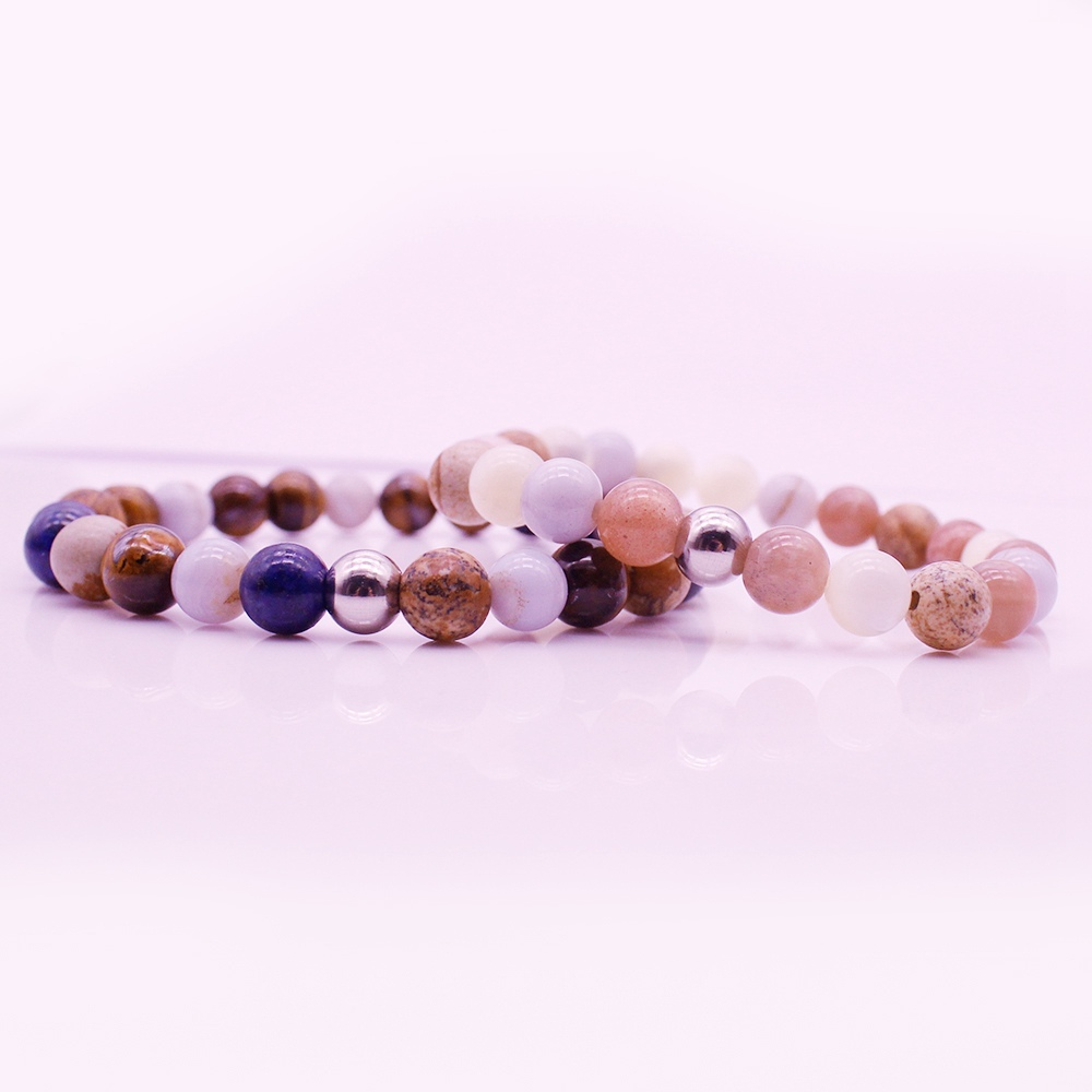 Mix Stone Beads Distance His & Her Couple Bracelet Valentine Jewelry