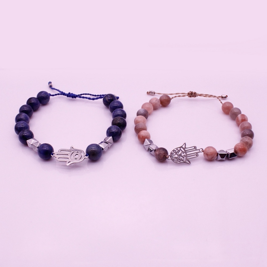 Blue And Sun Stone Hematite Hamsa Hand Distance Couple Bracelet Valentine Jewelry