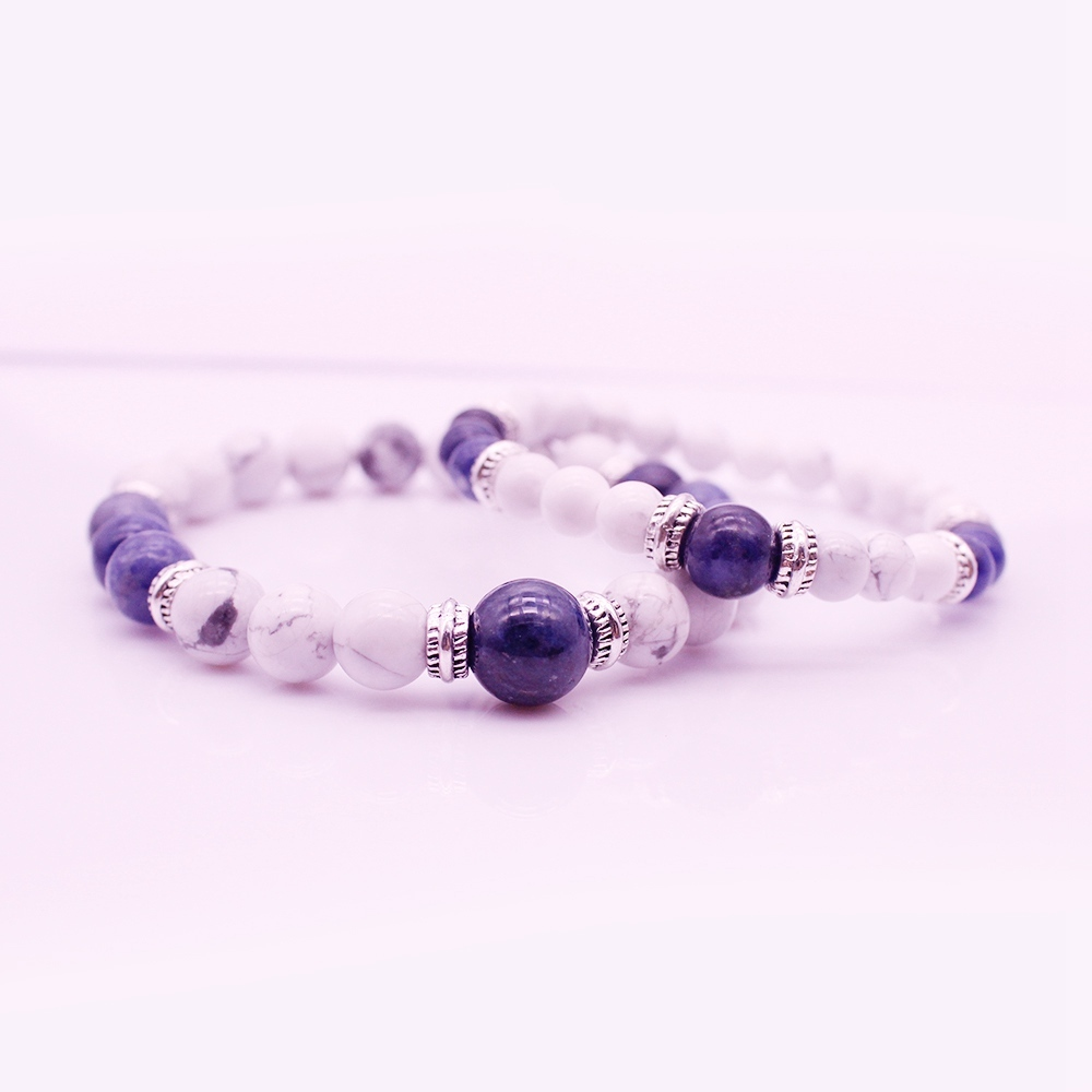 Energy His & Her Couple Stone Beads Bracelet Valentine Jewelry