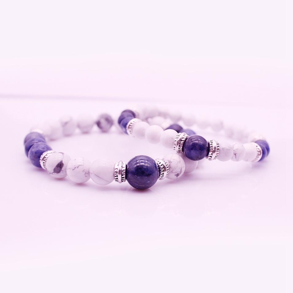 Energy His & Her Couple Stone Beads Bracelet Valentine Jewelry