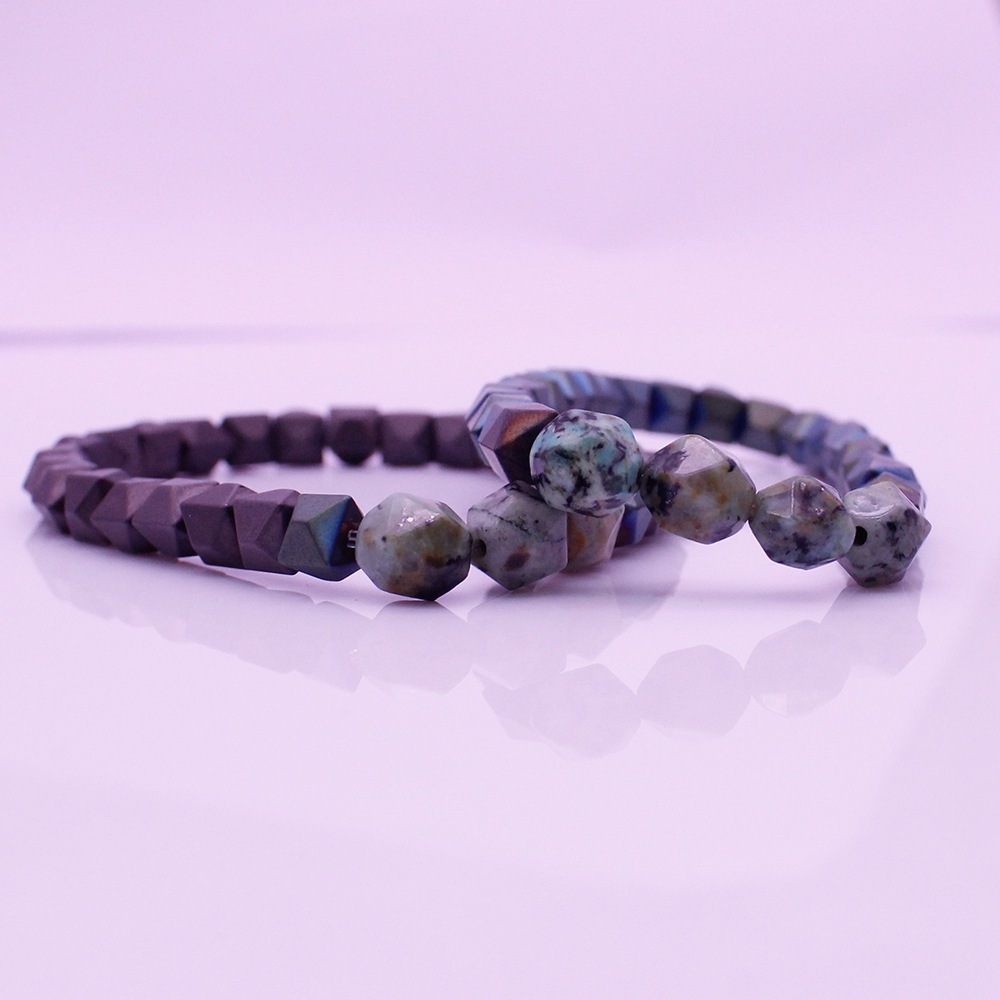 Valentine His & Her Couple Hematite African Turquoise Beads Bracelet