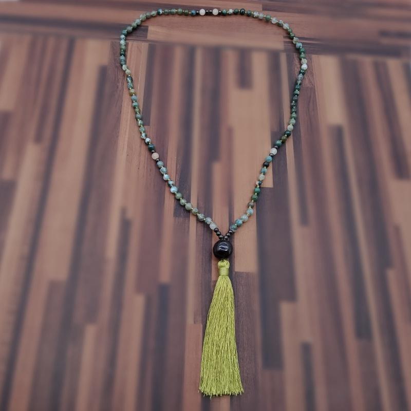 Natural Stone Beads & Pendant Mala Necklace