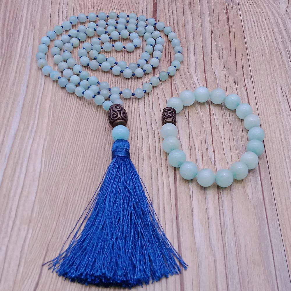 Amazonite Beads Malas Yoga Necklace&Bracelet Set