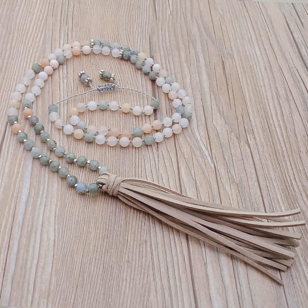Mixed Natural Stone Velvet Malas Yoga Necklace