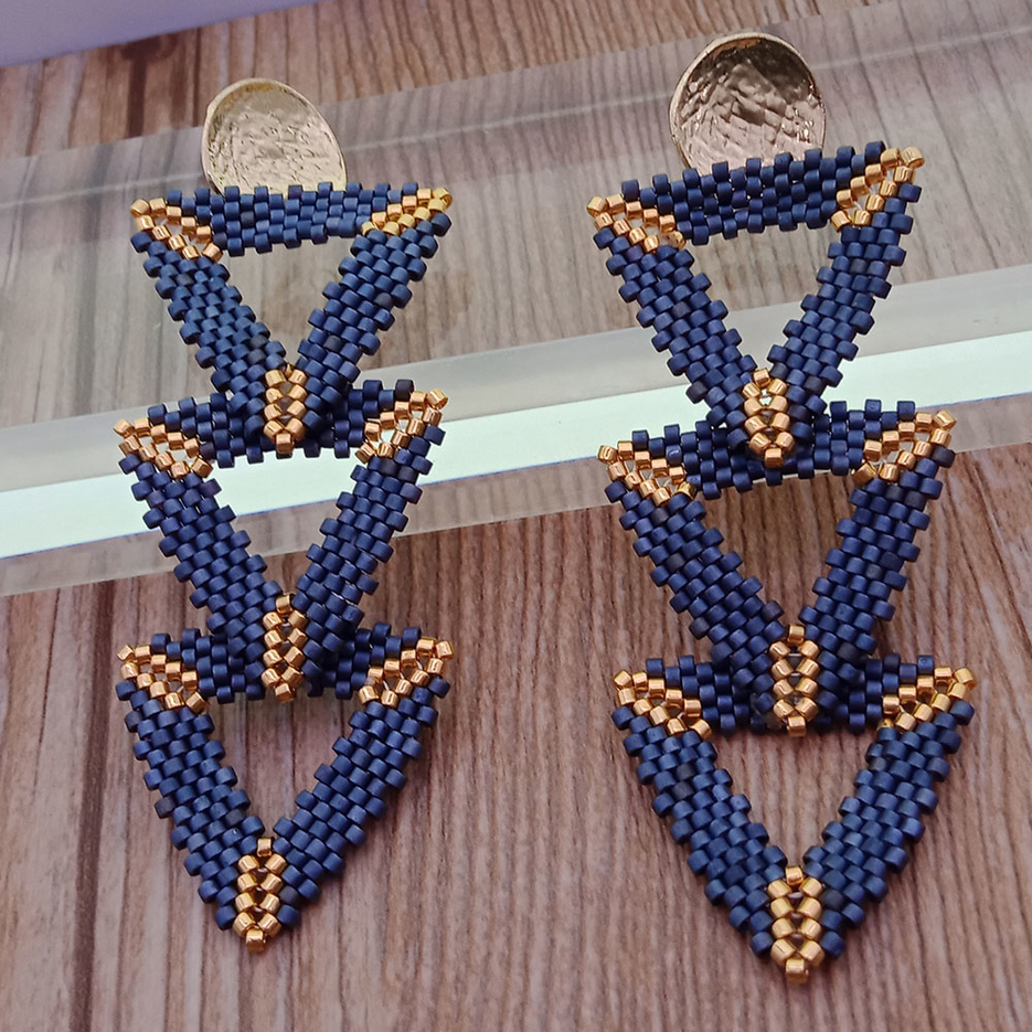 Wholesale Handmade Triple Triangle Miyuki Earrings
