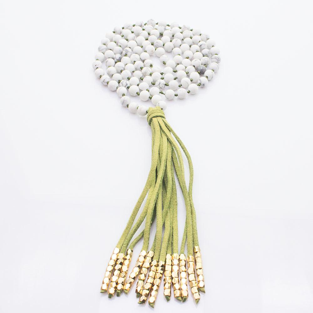 Howlite Beads Velvet Tassel Mala Yoga Necklace