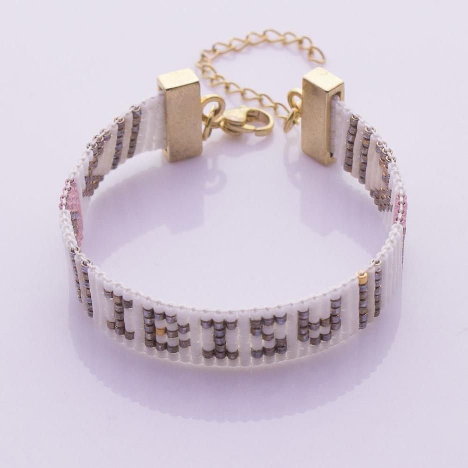 Miyuki Seed Bead Letter Beading Lobster Clasp Bracelet