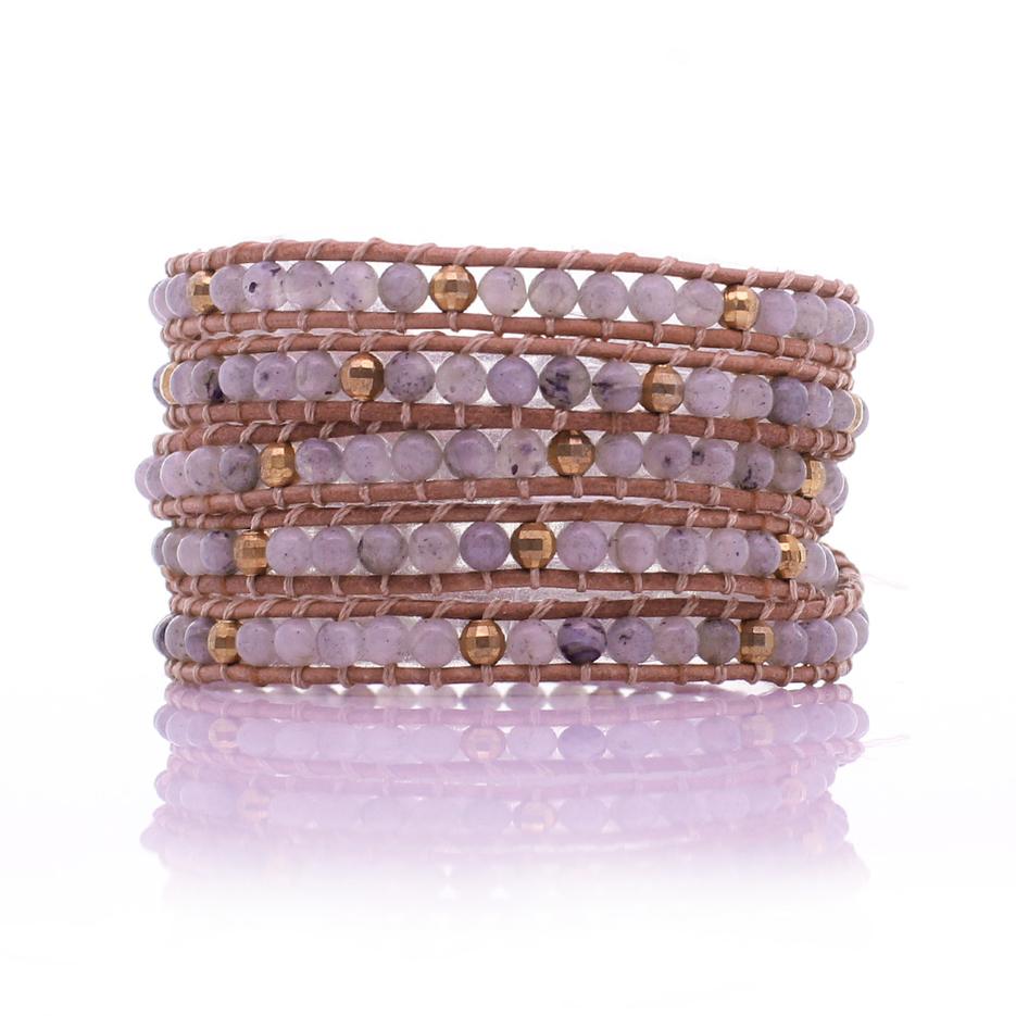 Labradorite Beads Copper Beads 5 Wrap Bracelet Handmade Wholesale