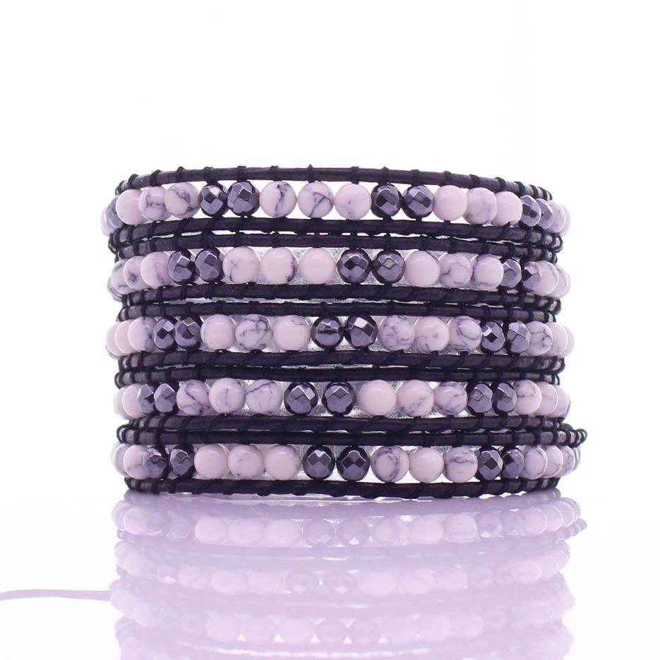 Howlite & Crystal Beads 5 Leather Wrap Bracelet