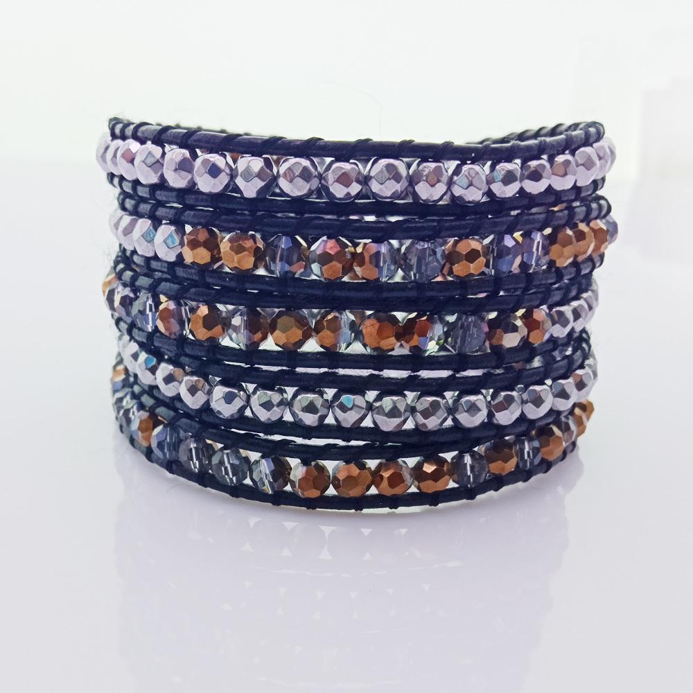 Handmade Crystal & Copper Beads 5 Leather Bracelet