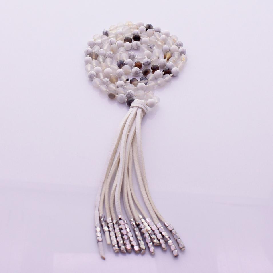 Howlite & Agate 6mm Beads Velvet Tassel Malas Yoga Necklace