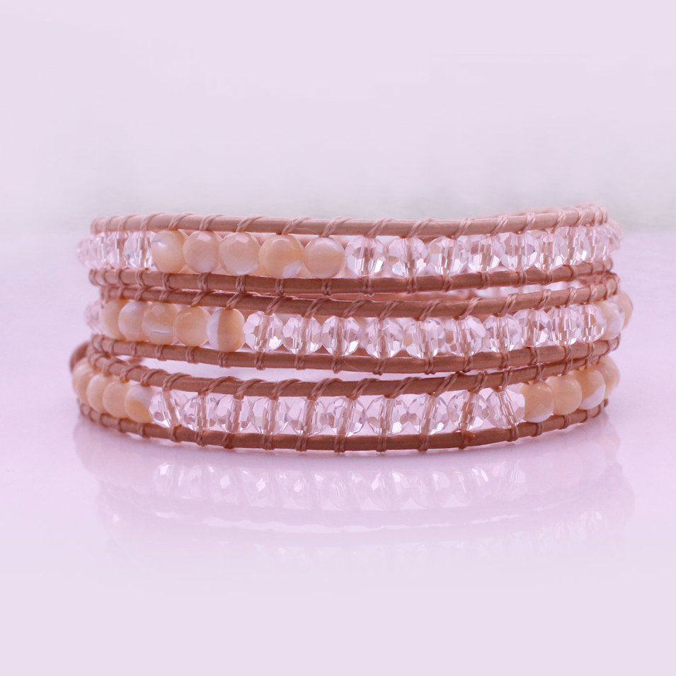 White Shell And Crystal Beads 3 Wrap Leather Bracelet