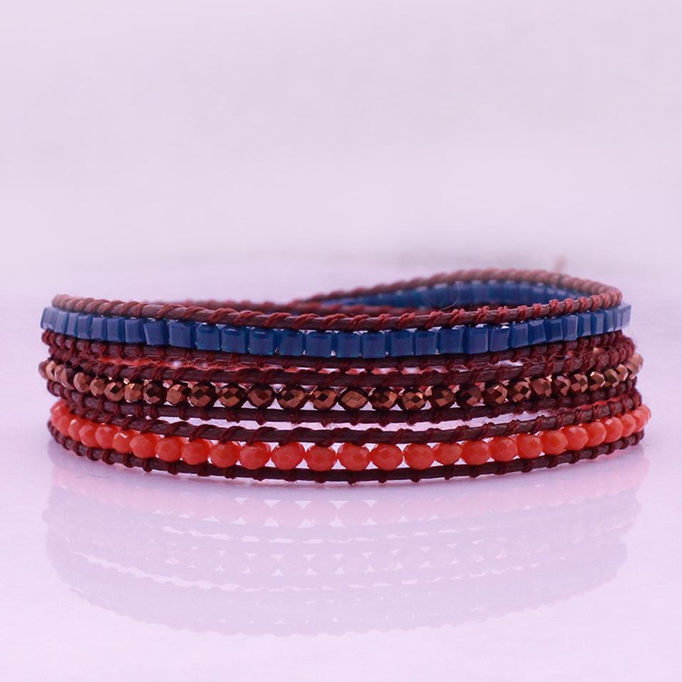 Handmade Square Plastic & Crystal Beads Leather 3 Wrap Bracelet