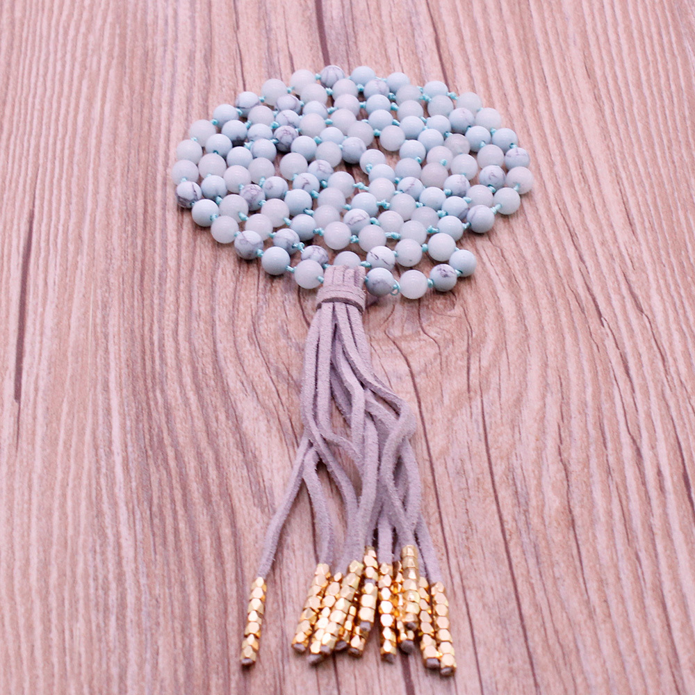 Handmade Turquoise & Amazonite Beads Malas Yoga Necklace