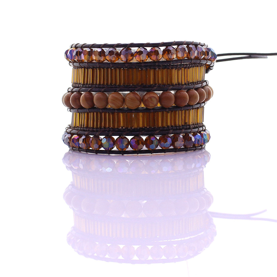 Serpenggiante & Crystal & Glass Tube Beads 5 Leather Wrap Bracelet