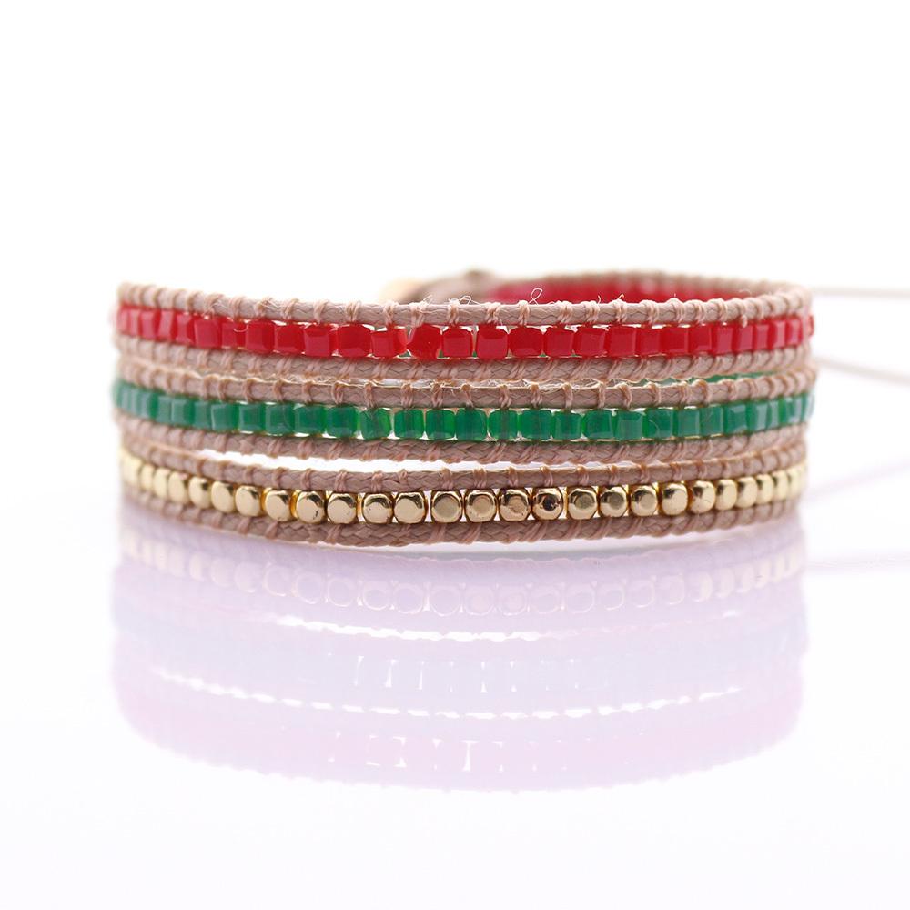 Handmade Crystal & Copper Square Beads 3 Wrap Bracelet