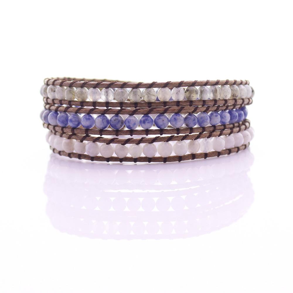 White Agate & Sodalite & Labradorite Stone Beads 3 Wrap Bracelet