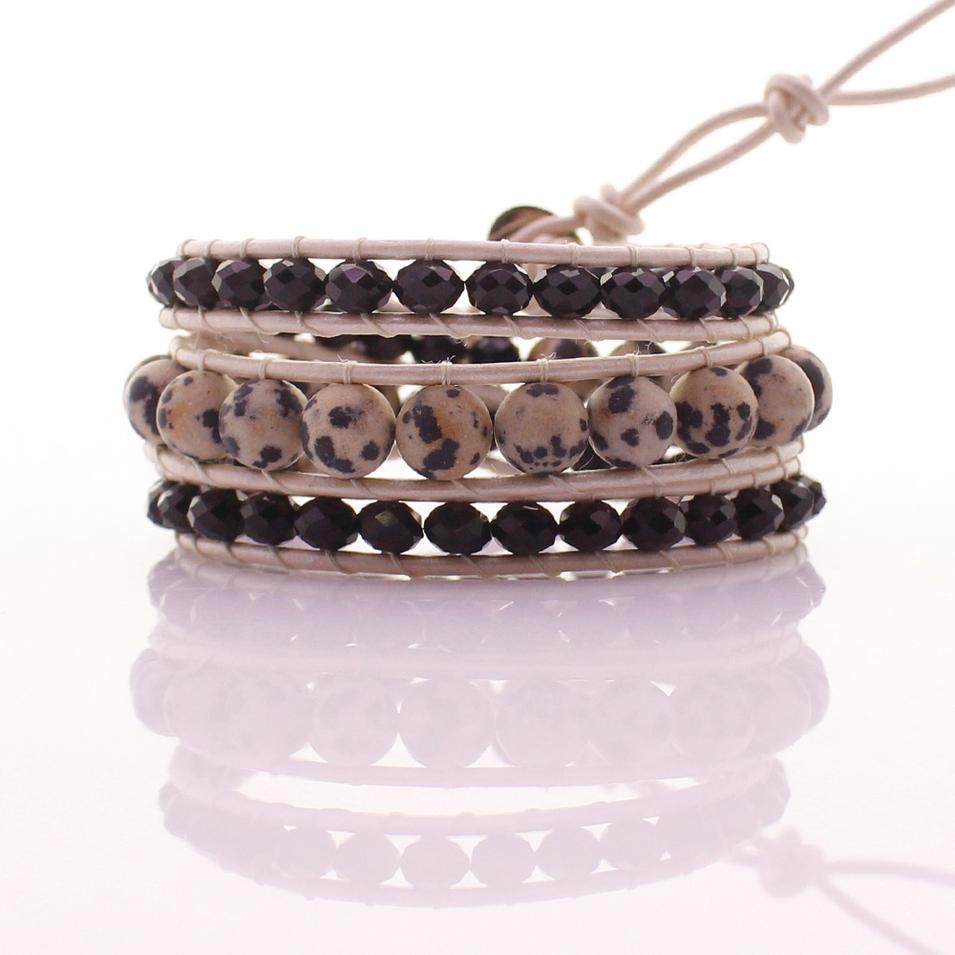 Dalmatian Jasper & Crystal Beads Leather 3 Wrap Bracelet