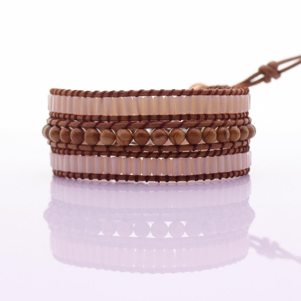 Handmade Square Crystal & Wooden Beads 3 Wrap Bracelet