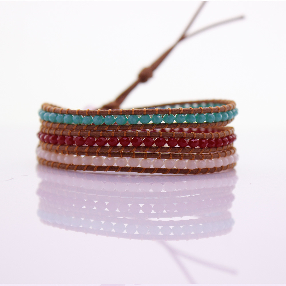 3mm Crystal Beads Leather Beading 3 Wrap Bracelet