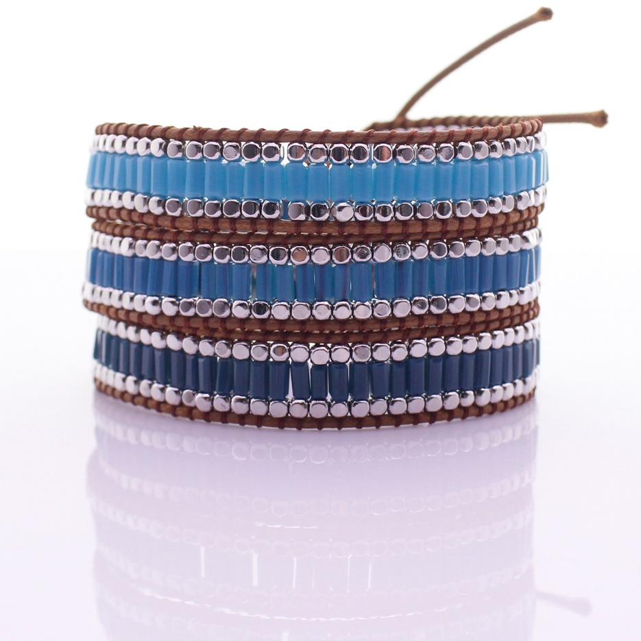 Handmade Square Crystal Tube Beads & Alloy Beads 3 Wrap Bracelet