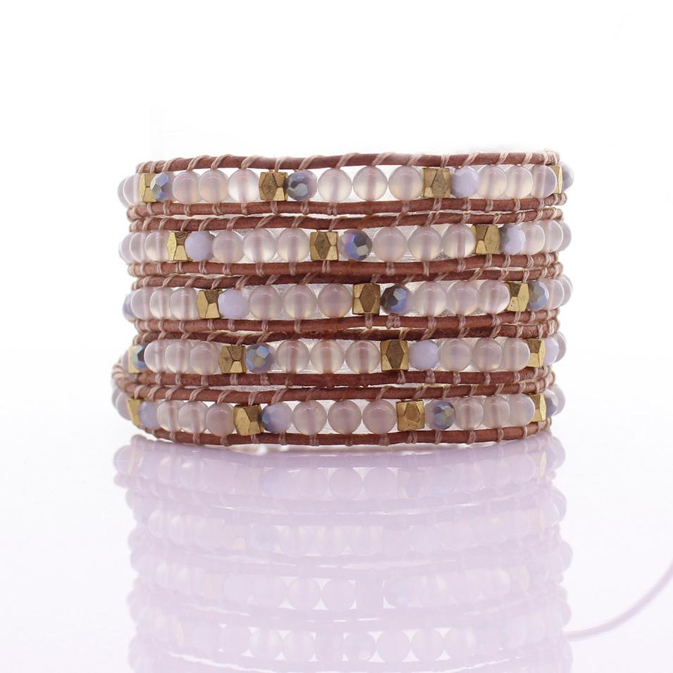 White Agate & Crystal & Copper Beads 5 Wrap Bracelet