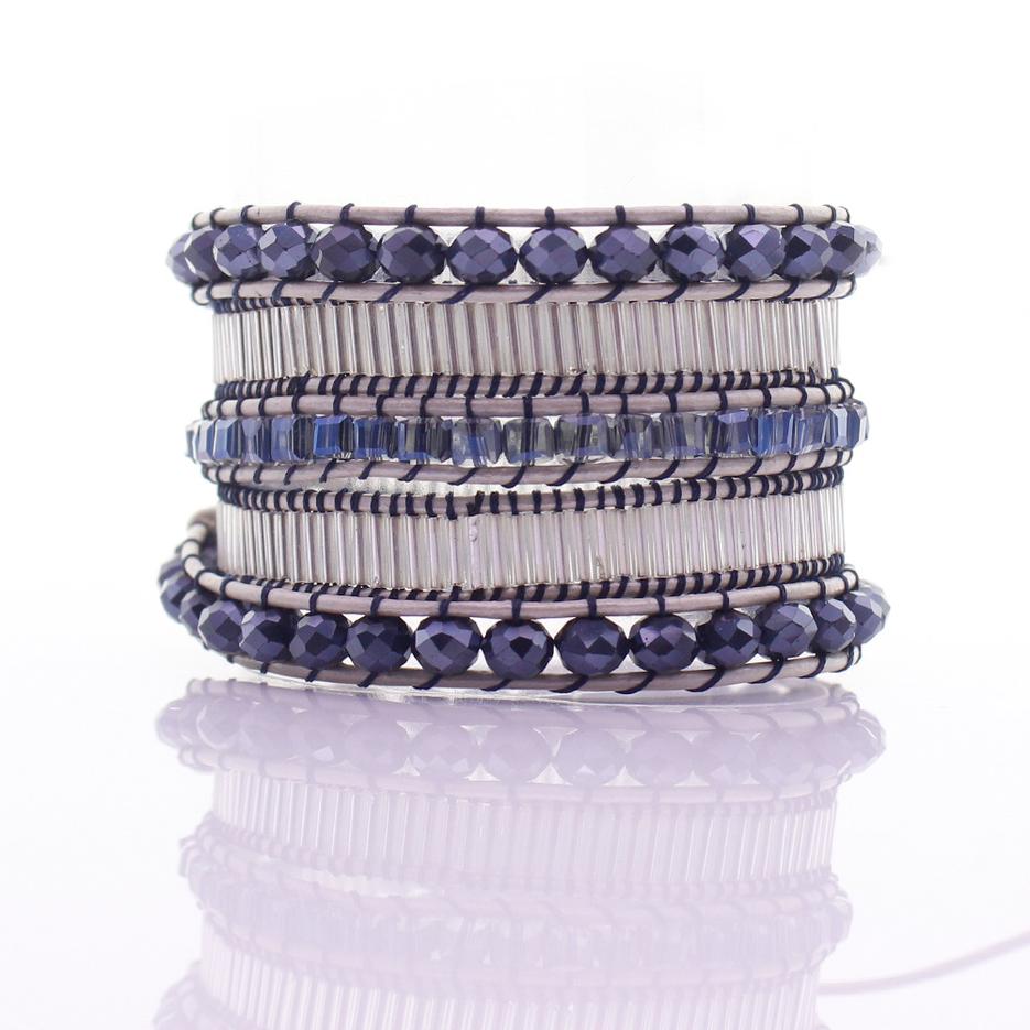 Handmade Crystal & Glass Tube Beads 5 Wrap Bracelet