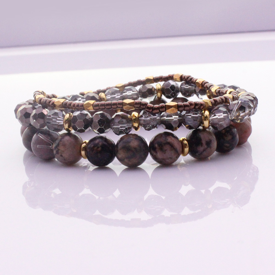 Natural Stone Crystal Beads & Seed Bead Bracelet Set