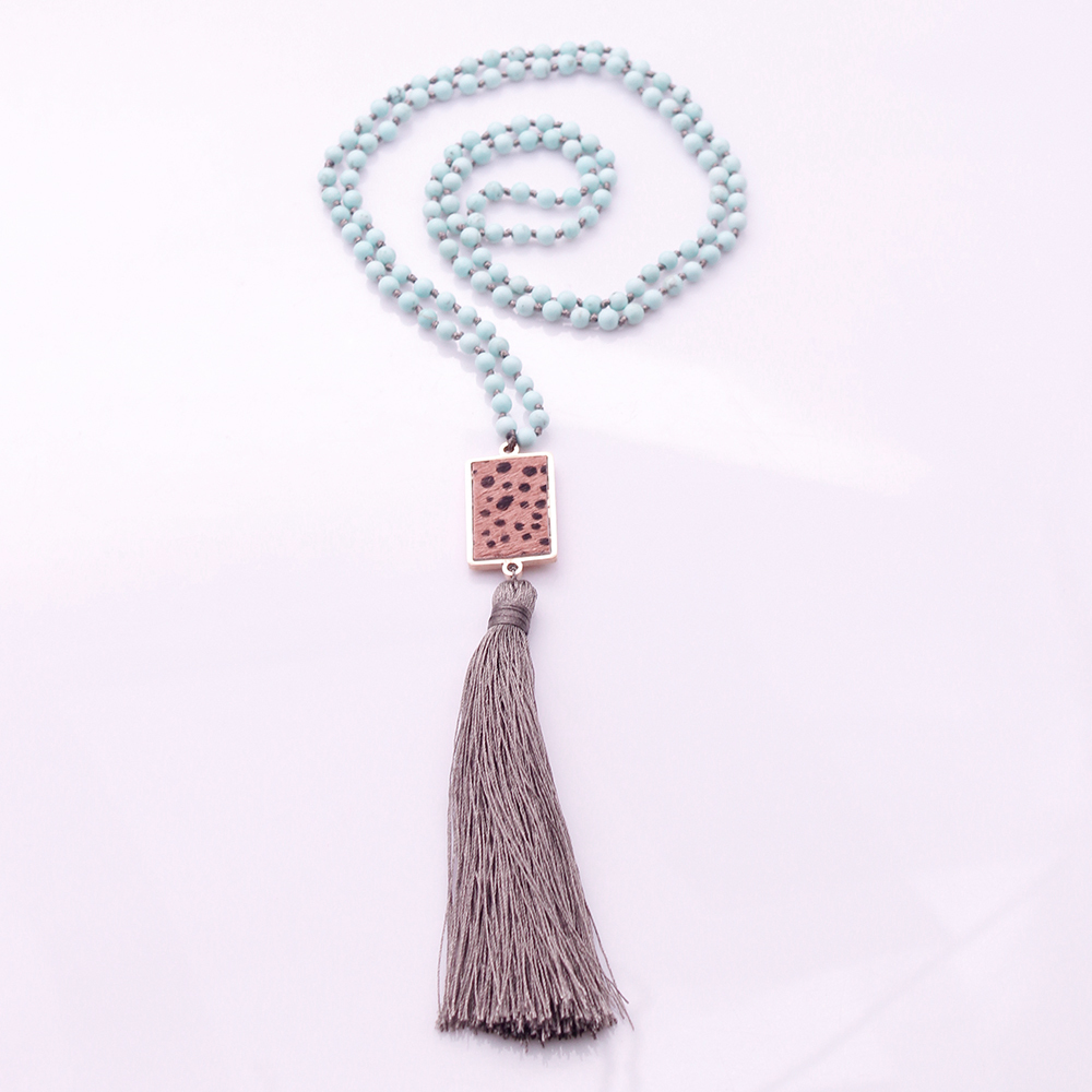 4mm Turquoise Beads Horsehair Alloy Pendant Mala Yoga Necklace