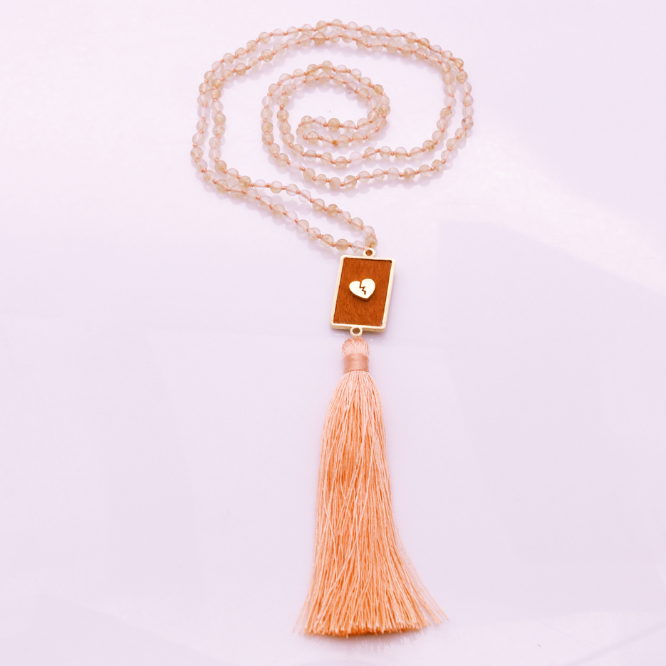 4mm Tea-watermelon Beads Horsehair Alloy Pendant Mala Yoga Necklace