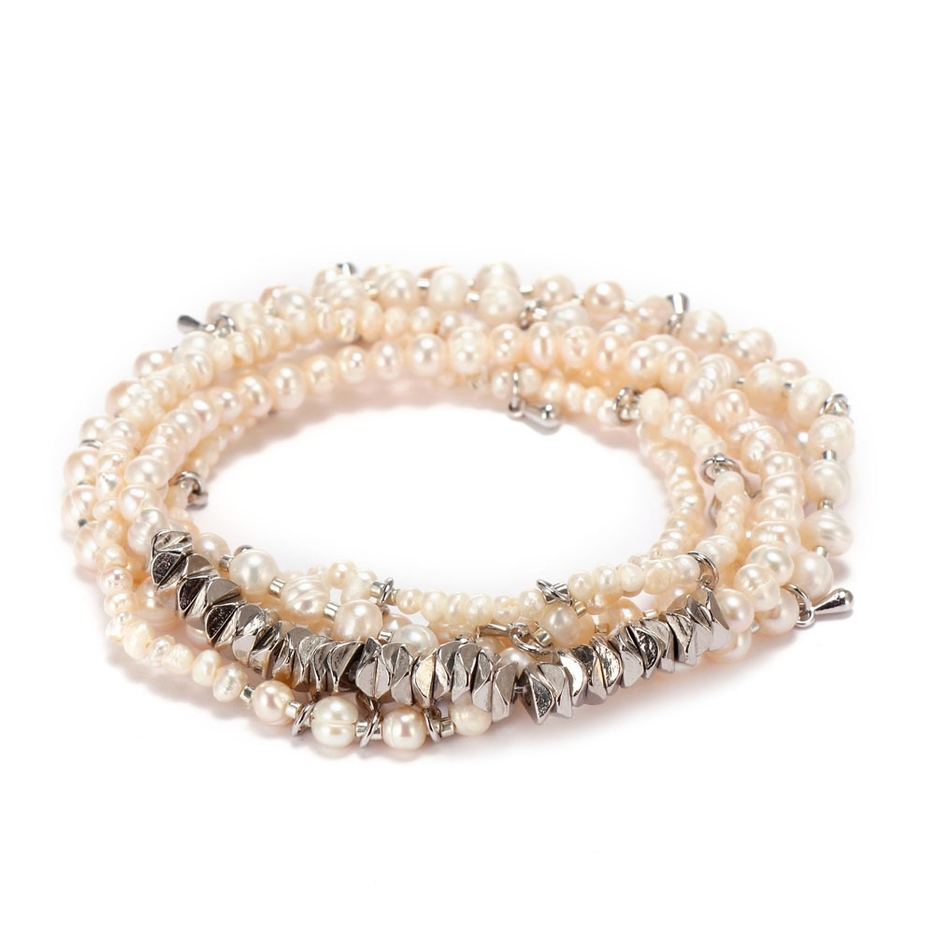 4mm & 2mm Pearl Beads Alloy Chips Mutilayer Bracelet Set
